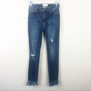 Free People | Fray Hem Distressed Skinny Jeans